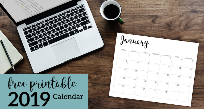 2019 Calendar Printable Free Template. 2019 monthly free printable wall or desk calendar. Hand lettered from January through December help you get organized. #papertraildesign #officeorganization #2019