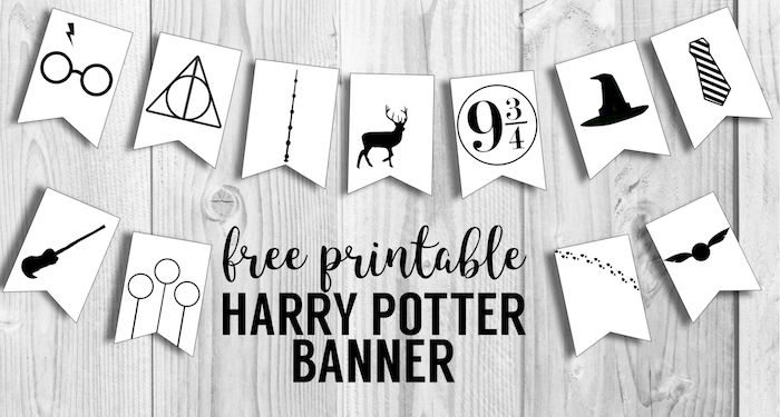 Harry Potter Banner Free Printable Decor. Harry Potter Hogwarts icon banner for party decor , bedroom decor or birthday party decorations. #papertraildesign #harrypotter #hogwarts #harrypotterdecor