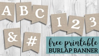 Free Printable Burlap Banner DIY Decor. Great for farmhouse decor. Fall decorations, Thanksgiving. Nice Autumn rustic or wedding decor. #papertraildesign #burlap #burlapbanner #decor