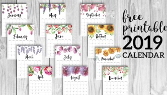 Free Printable Calendar 2019 - Floral. Watercolor Flower design style calendar. Monthly calendar pages. Cute office or desk organization. #papertraildesign #2019calendar #calendar #calendar2019 #floralcalendar