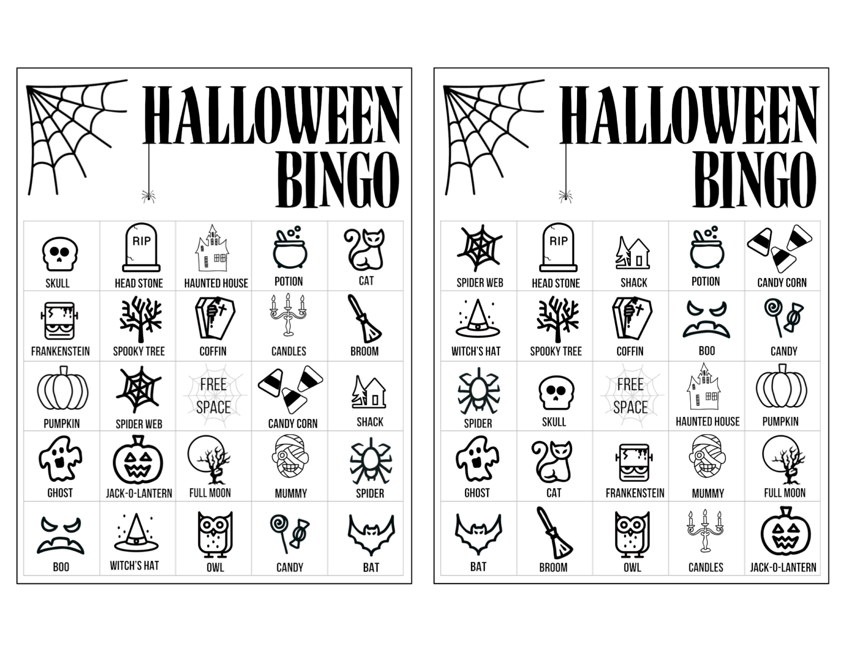 image about Printable Haloween Bingo named Halloween Bingo Printable Video game Playing cards Template - Paper Path