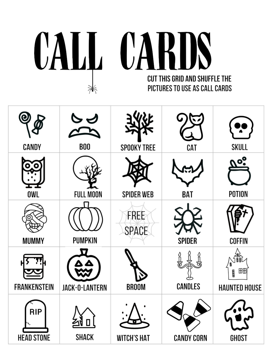Halloween Bingo Printable Game Cards Template