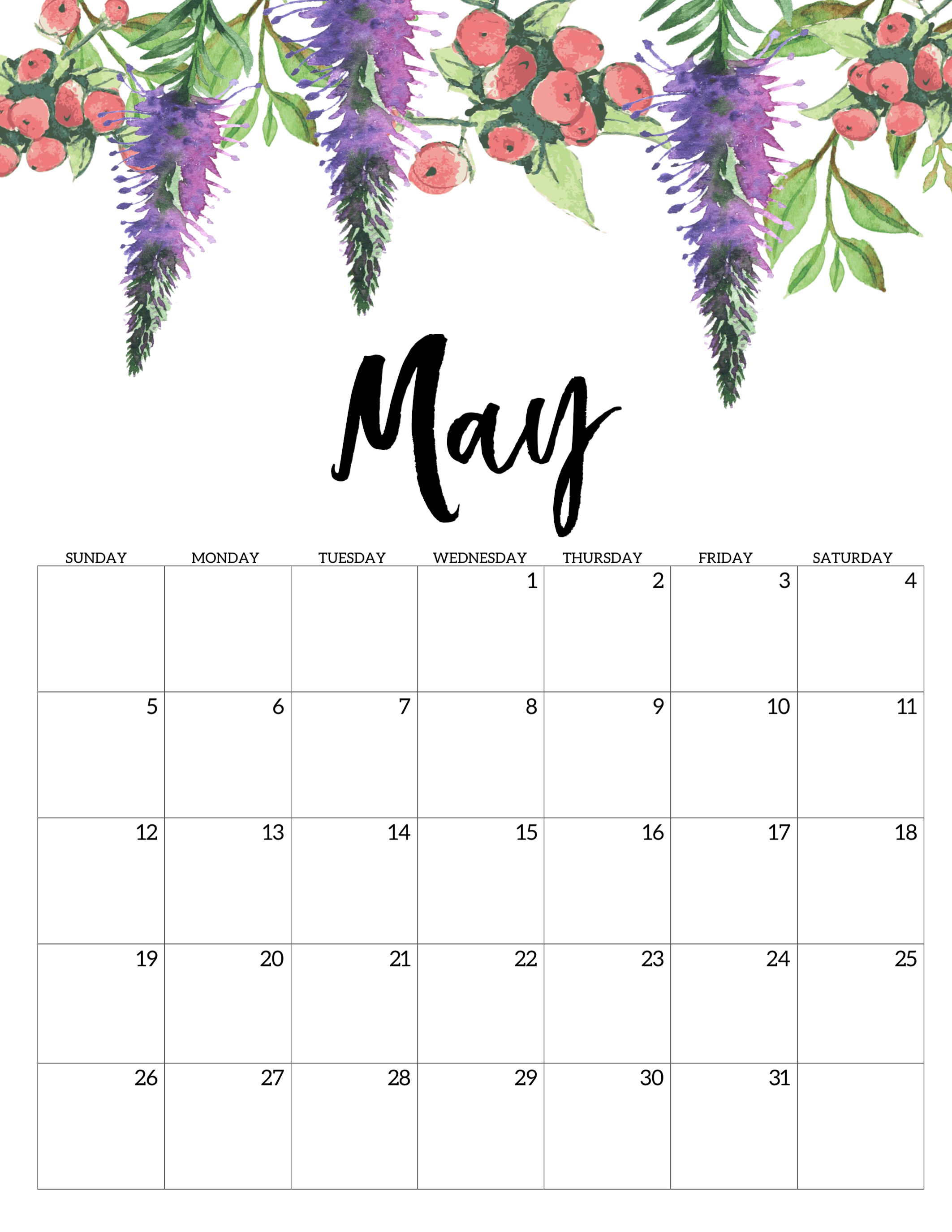 Printable Calendars 2019 May Thru December Free Printable Calendar 2019   Floral   Paper Trail Design