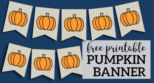 Free Printable Pumpkin Banner Decor. Decorate for Fall, Halloween, and Thanksgiving. DIY pumpkin banner with a burlap rustic farmhouse look. #papertraildesign #pumpkin #pummpkindecor #fall #falldecor