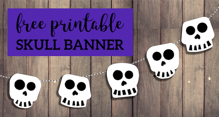 Free Printable Halloween Skull Decoration Banner. Halloween or Day of the Dead banner printable template decor. Cute skeleton banner. #papertraildesign #skulls #halloween #halloweendecor