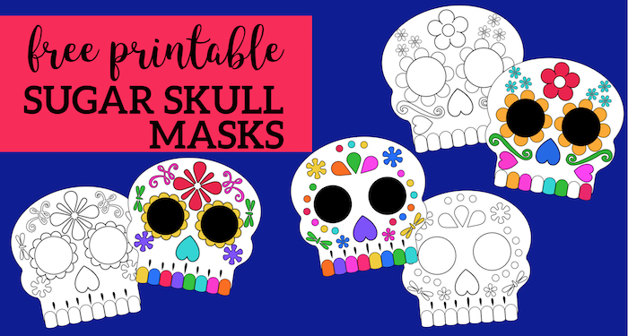 graphic relating to Printable Skull titled Working day of the Useless Masks Sugar Skulls Absolutely free Printable - Paper