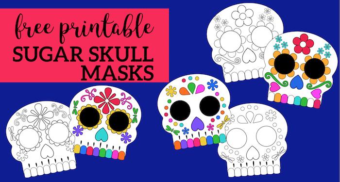 image regarding Printable Skulls referred to as Working day of the Lifeless Masks Sugar Skulls Absolutely free Printable - Paper