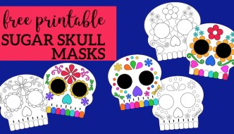Day of the Dead Masks Sugar Skulls Free Printable