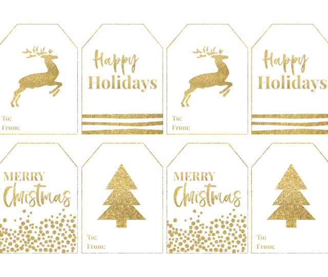 Gold Free Printable Christmas Gift Tags Large