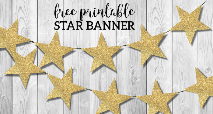 photo relating to Free Printable Stars titled Gold Star Banner Xmas Garland Printable - Paper Path