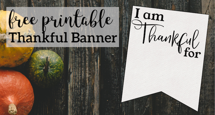 photograph regarding Printable Thanksgiving Banner called I am Grateful for Printable Banner - Paper Path Layout