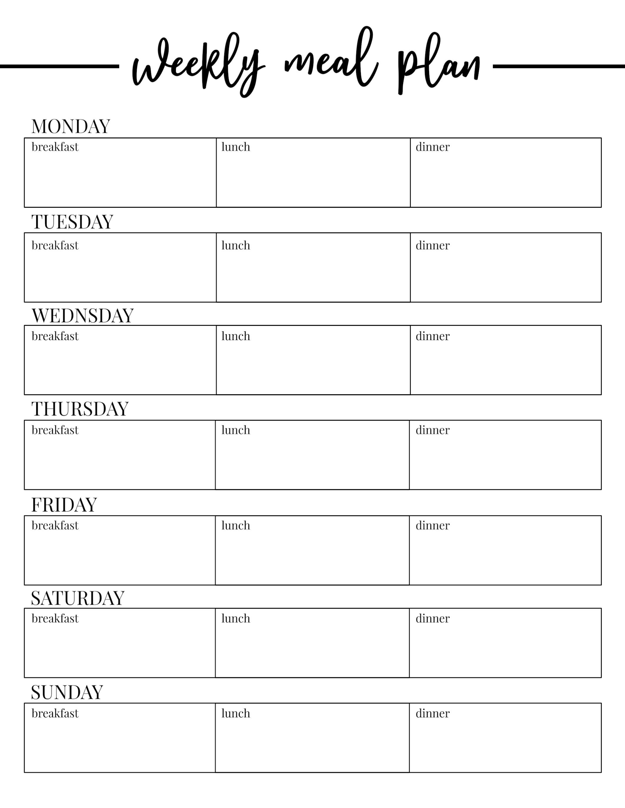 Free Printable Weekly Meal Plan Template