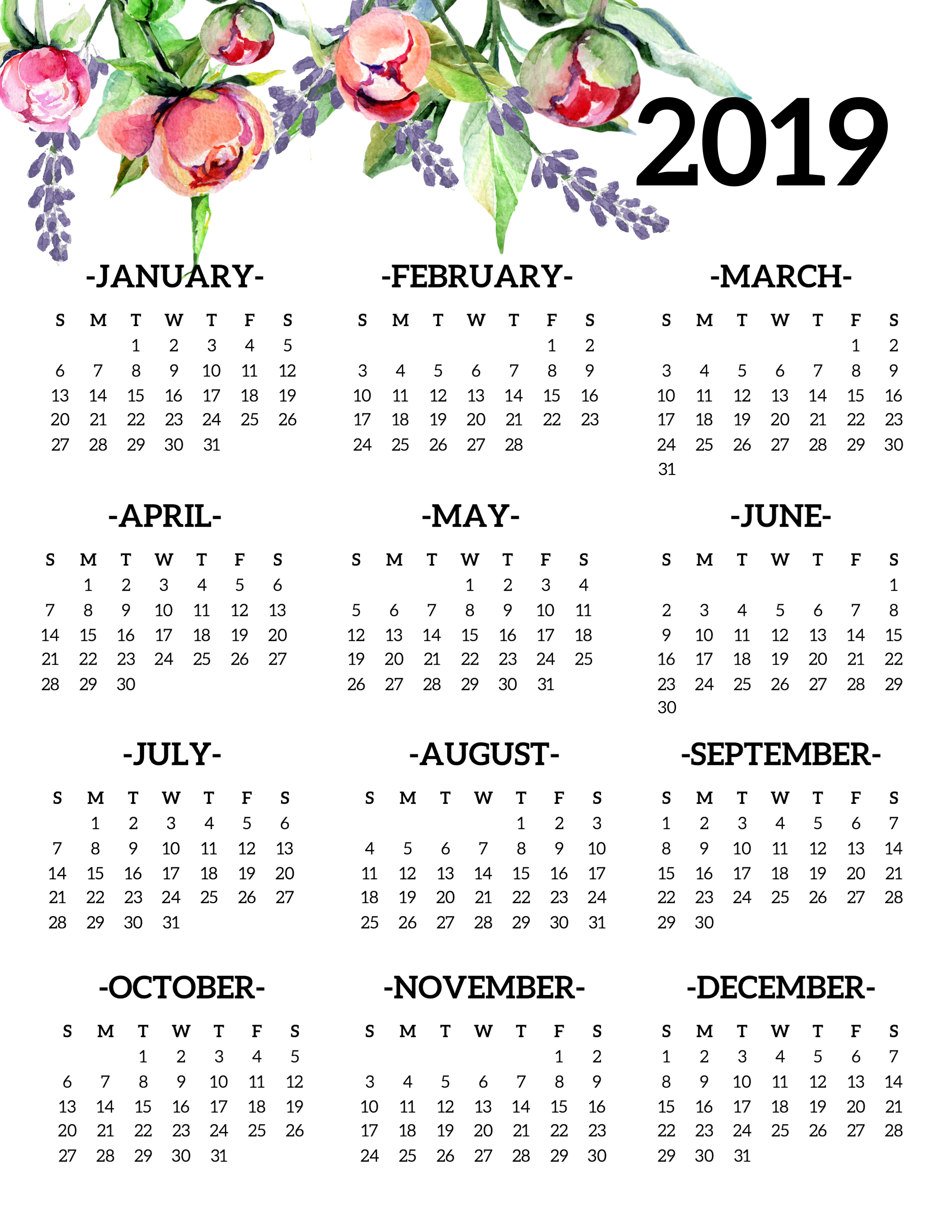 free printable 2019 calendar yearly one page floral 2019 year at a glance calendar poster