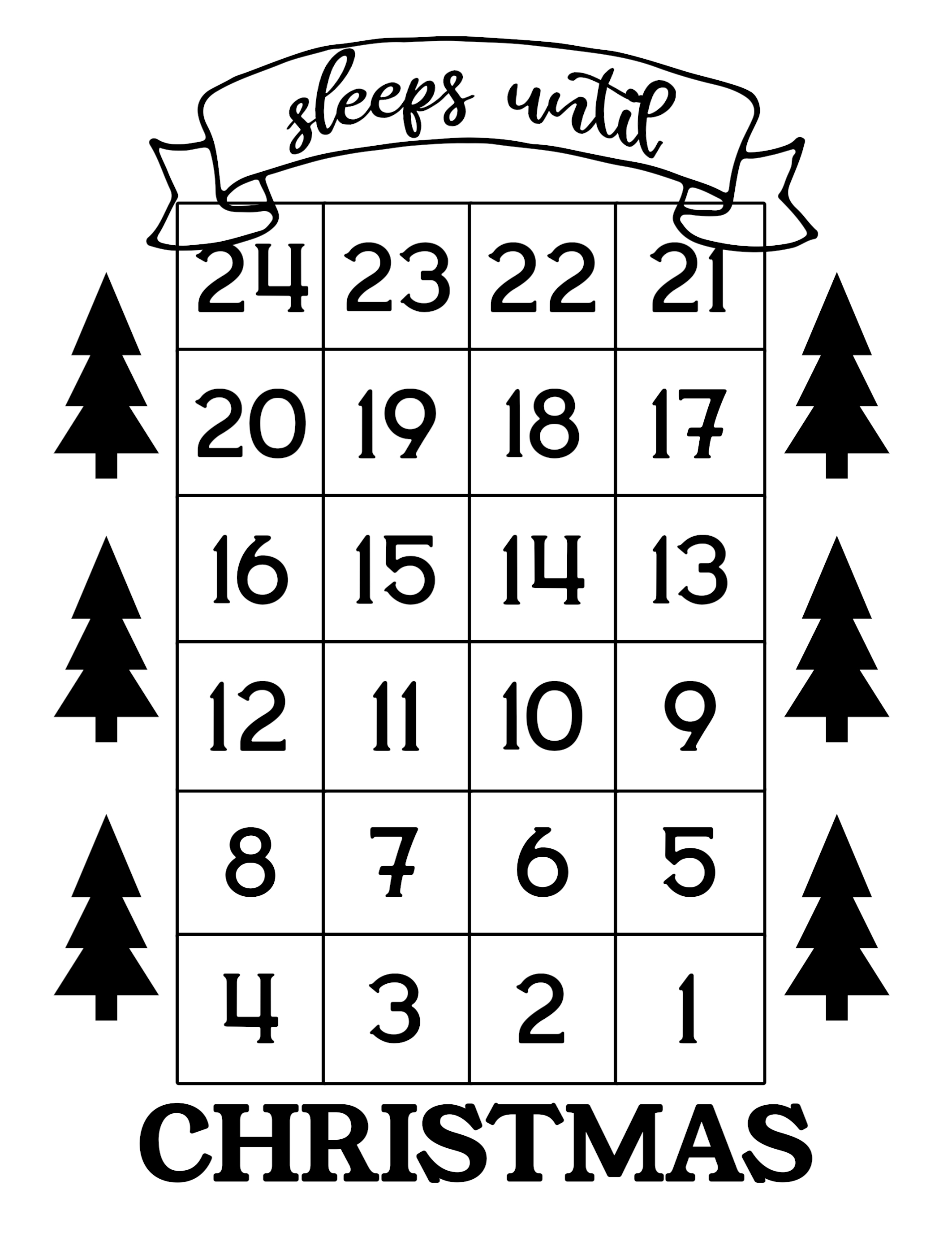 How Many Days Until Christmas Countdown.How Many Days Until Christmas Free Printable Paper Trail