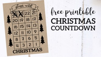 How Many Days Until Christmas Free Printable. Christmas countdown advent calendar sign with trees. Sleeps until Christmas. #papertraildesign #Christmascountdown #christmasdecor #christmasDIY #christmasadvent