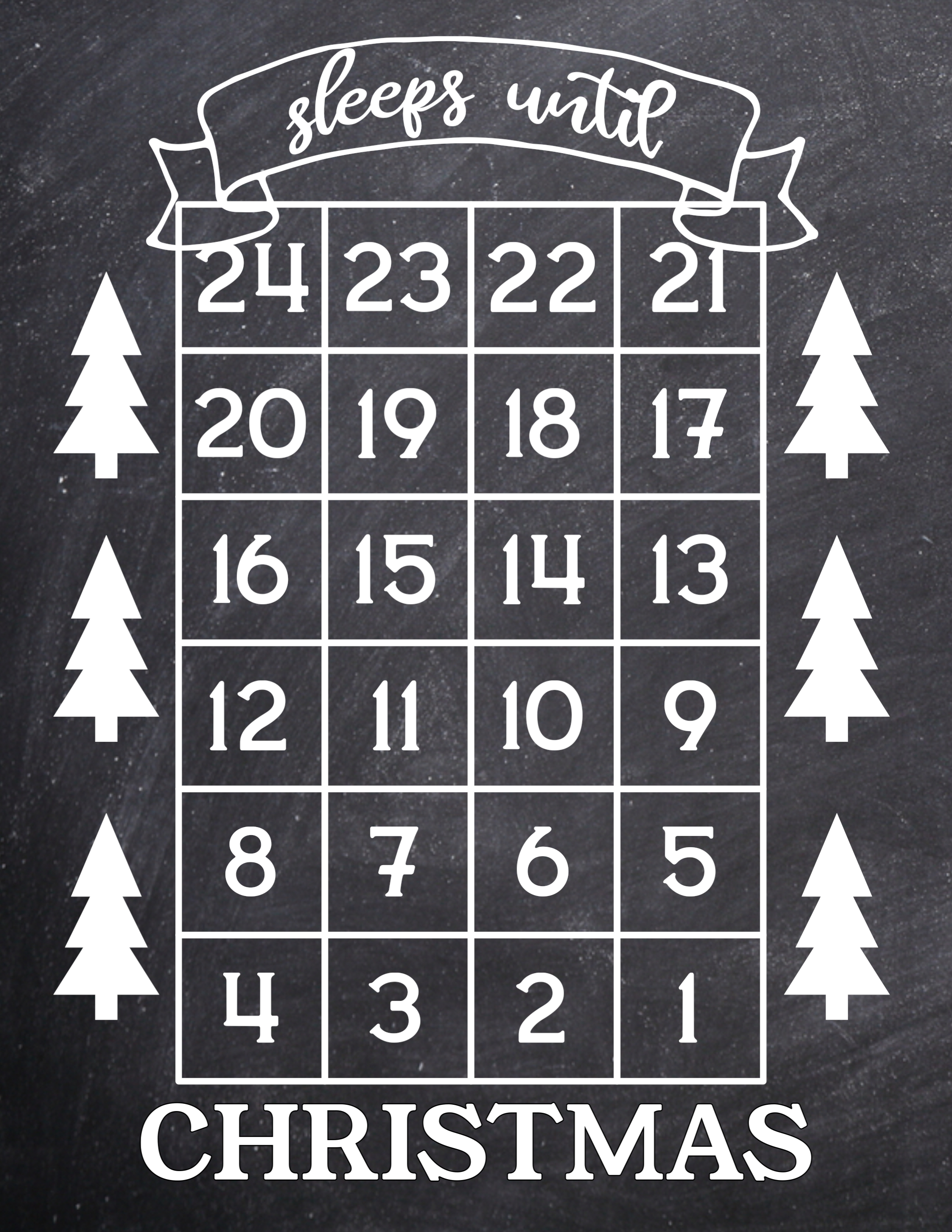 how many days until christmas free printable christmas countdown advent calendar sign with trees - How Long Until Christmas