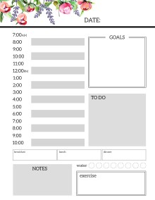 Floral Free Printable Daily Planner Template Sheets. Flower planner pages. Monday, Tuesday, Wednesday, Thursday, Friday, Saturday, Sunday. #papertraildesign #planner #plannerpages #plannerprintable #printableplanner #freeprintableplanner #organize #getshitdone #dailyplanner #dailyplan