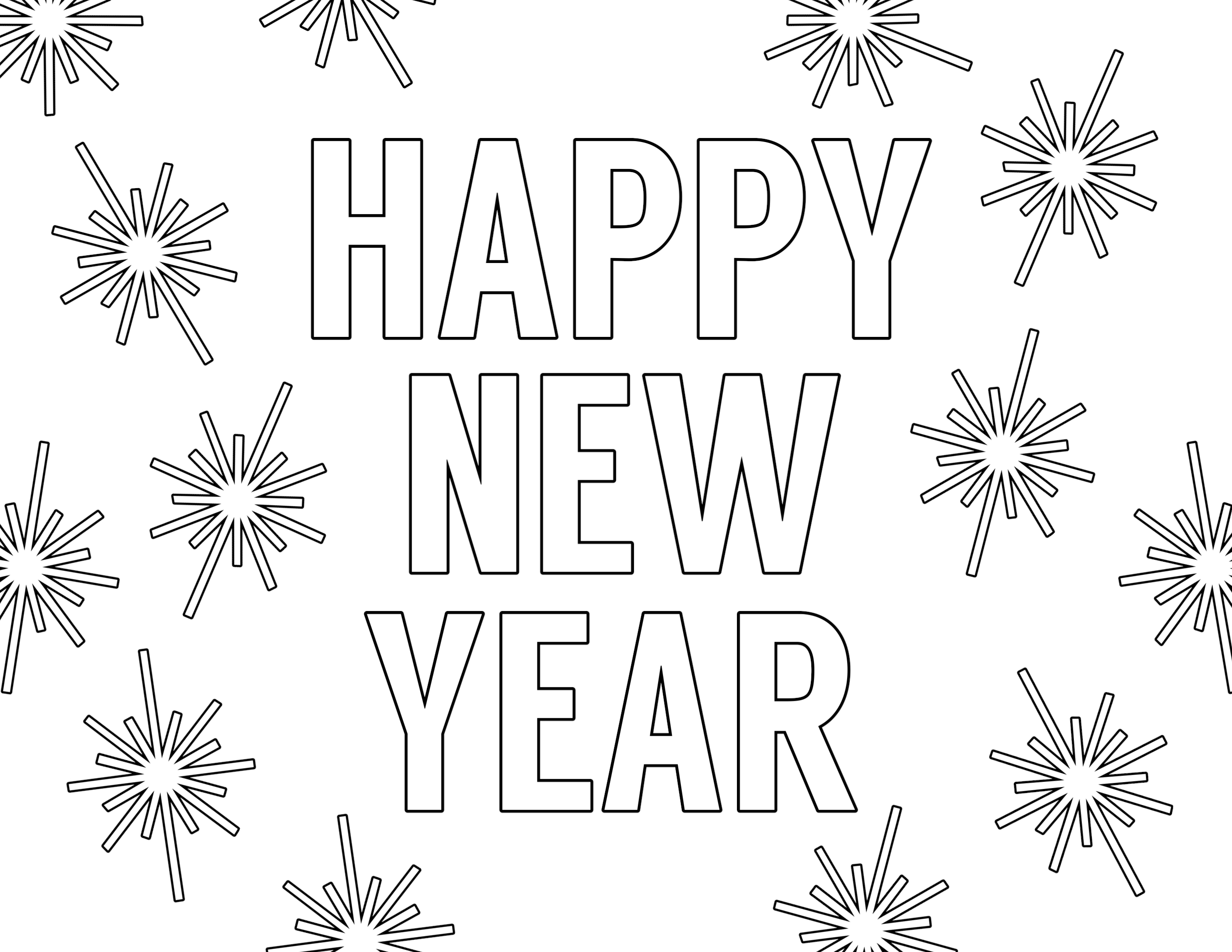 Happy new year free printable coloring page · 2019
