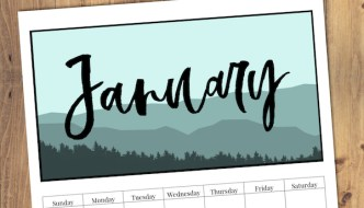 Free Printable Monthly Calendar 2019 - Mountain Trees. Outdoorsy treeline calendar. Nature and adventure lovers calendar. #papertraildesign #2019 #2019calendar #naturelovers #natureprintables #freeprintables #calendar2019 #deskcalendar
