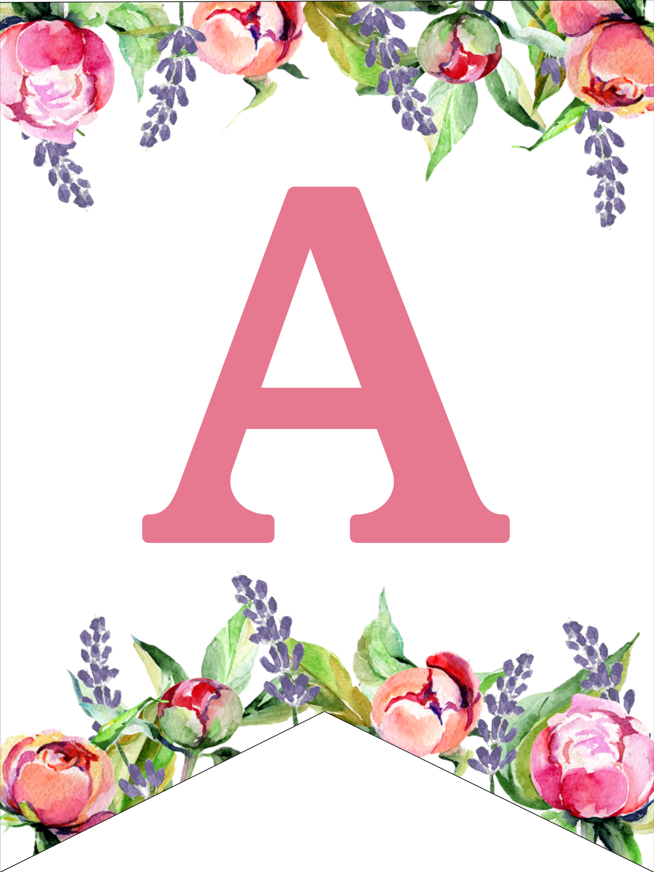 Floral Free Printable Alphabet Letters Banner