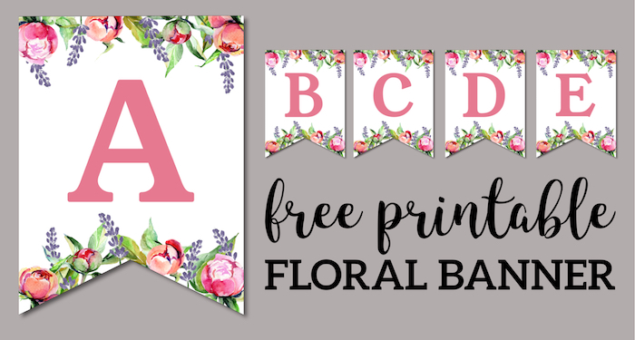 image relating to Printable Letters Banner named Floral Free of charge Printable Alphabet Letters Banner - Paper Path
