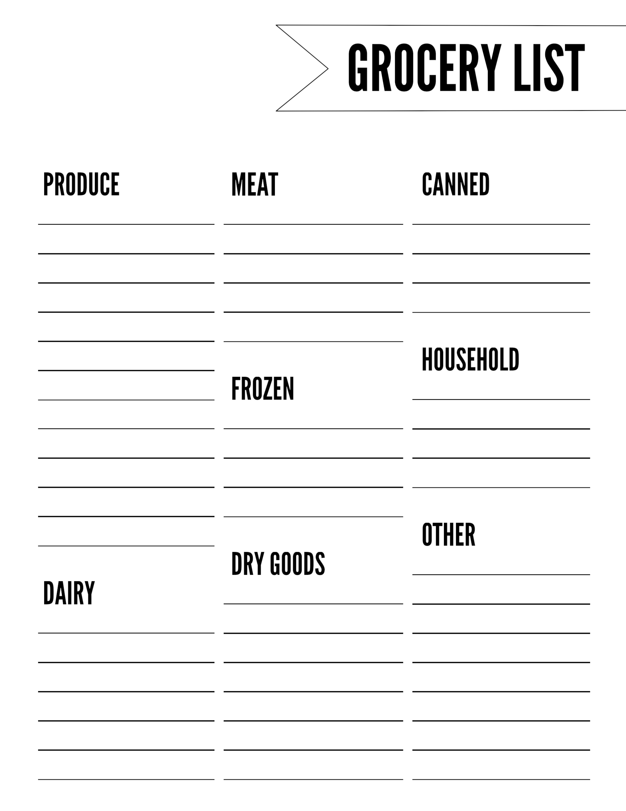 Free Printable Grocery List Template - Paper Trail Design
