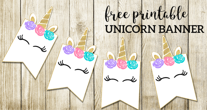 Free Printable Unicorn Decorations Party Banner. Easy unicorn Birthday party or baby shower decor. Gold, pink, purple, and aqua. #papertraildesign #unicorn #unicorns #unicornparty #unicornbirthdayparty #unicornbirthday #unicornbabyshower #birthdayparty #birthday #babyshower #party