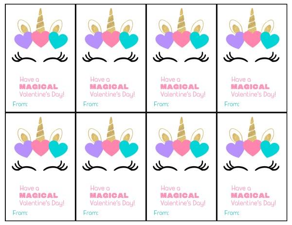 Free Printable Unicorn Valentine Cards - Paper Trail Design