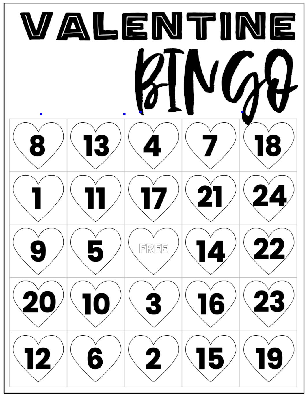 Free Valentine Bingo Printable Cards