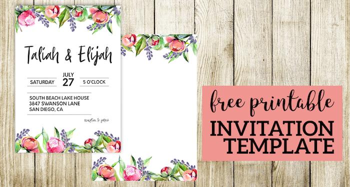 Floral Wedding Invitation Template Paper Trail Design