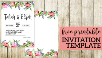 Floral Wedding Invitation Template. Free printable template for a wedding, bridal shower, baby shower, birthday or another party. #papertraildesign #wedding #invitation #weddinginvitation #shower #babyshower #bridalshower #showerinvitation #floral #floralinvitation #invite #template #freetemplate #flower #DIY #easyDIY