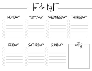 Weekly Free Printable To Do List. Crush your goals and stay organized with this weekly to-do list with notes to keep track of everything. #papertraildesign #freeprintables #freeprintable #printable #printableplanner #printabletodolist #planyourday #dayplanner #dailyplanner #weeklyplan #weeklyplanner #slayyourgoals #goalslayer #office #officeorganization #home #homeorganization