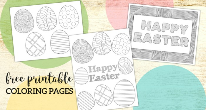 Free Printable Easter Coloring Sheets. Fun and cute Easter egg and happy Easter Coloring pages for adults or kids or students. #papertraildesign #easter #eastereggs #happyeaster #coloringpage #coloringpages #eastercoloringpage #spring