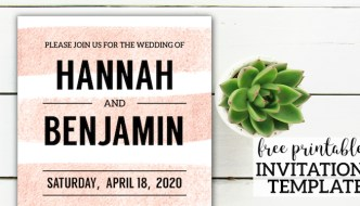Free Invitation Template {Wedding, Birthday, Baby Shower}. Free printable boho chic pink stripe party invitation to edit and DIY. #papertraildesign #invitation #freeinvitation #invitationtemplate #freeprintable #wedding #weddinginvitation #birthday #birthdayparty #birthdaypartyinvitation #birthdayinvitation #babyshower #babyshowerinvitation