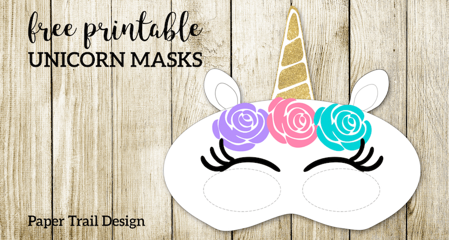 Free Printable Unicorn Masks. Print these fun masks for an easy and inexpensive DIY unicorn themed birthday party for kids. #papertraildesign #unicorn #unicorns #birthday #birthdayparty #girlbirthday #girlbirthdayparty