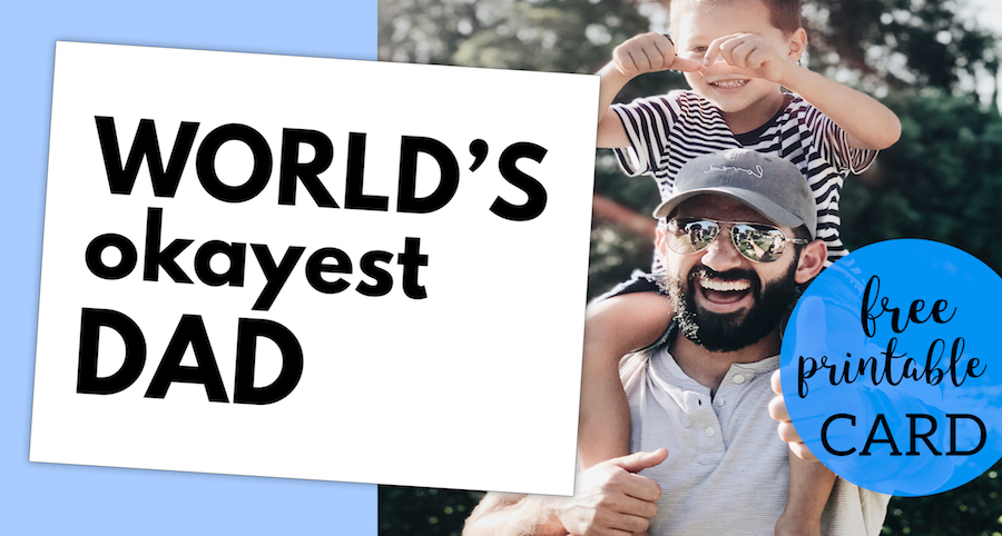 photograph regarding Free Printable Funny Father's Day Cards identified as Worlds Okayest Father Fathers Working day Card Printable - Paper