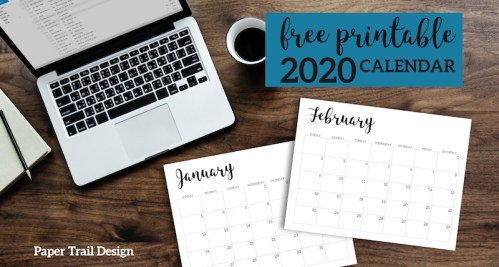 2020 Calendar Printable Free Template. 2020 monthly free printable wall or desk calendar. Hand lettered from January through December help you get organized