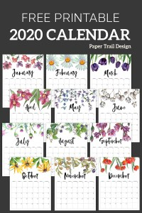 2020 Calendar with flower decorations from January to December with text overlay- free printable 2020 calendar