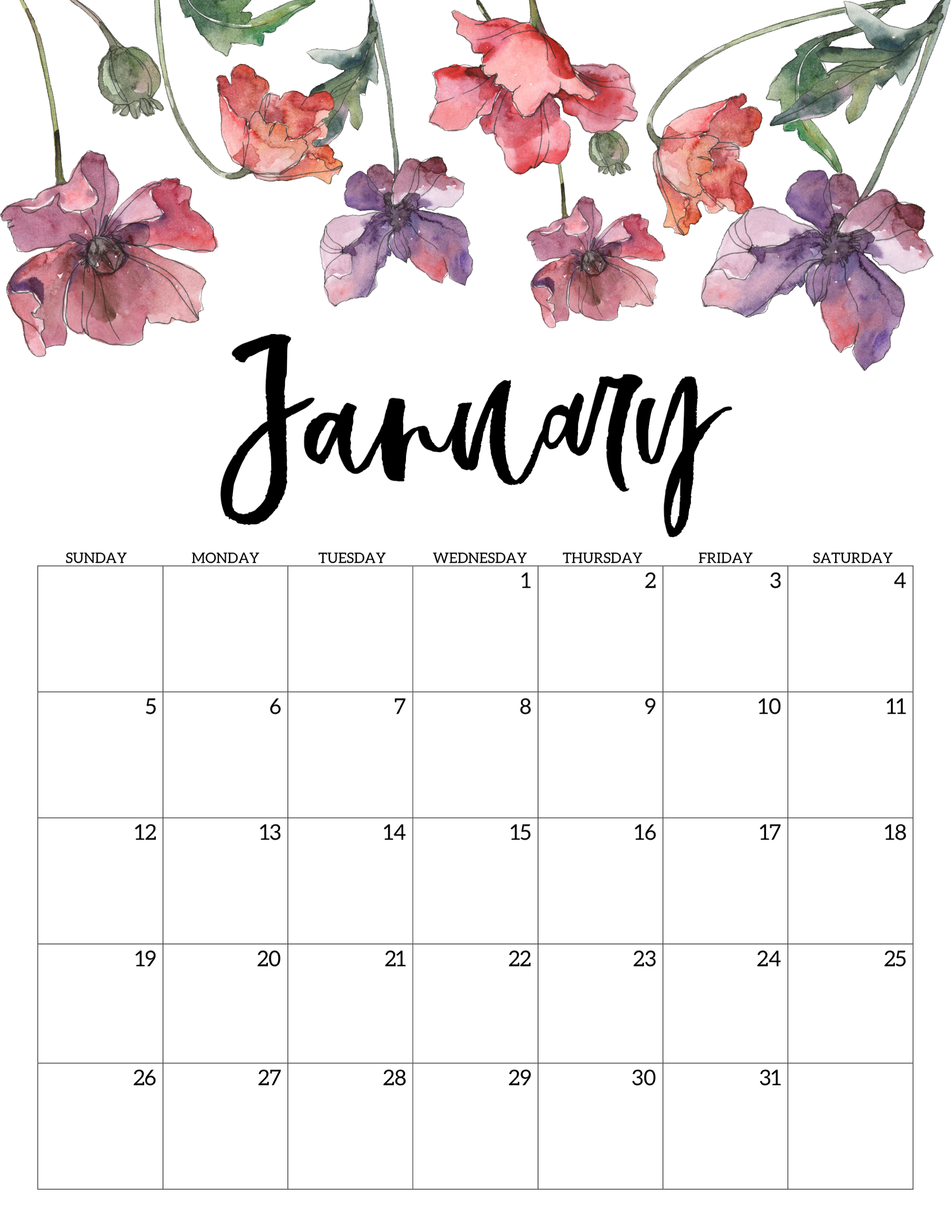 Free January 2020 Calendar 2020 Free Printable Calendar   Floral   Paper Trail Design