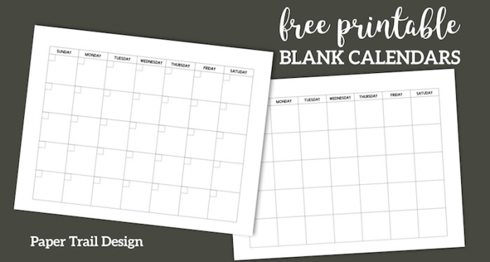 Free Printable Blank Calendar Template. Simple planning calendar layout. Monthly calendar or five week calendar that overlaps months. #papertraildesign #calendar #calendarprintable #printablecalendar #blankcalendar #freeprintable #organize #organization