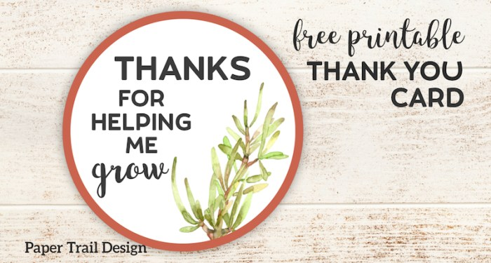 Thanks for Helping Me Grow Printable. Free printable thank you card for a teacher or coach. Attach to a flower, plant, or succulent. #papertraildesign #teacher #thankyou #teacherthankyou #teacherappreciation #thanksforhelpingmegrow #plant #plantgift