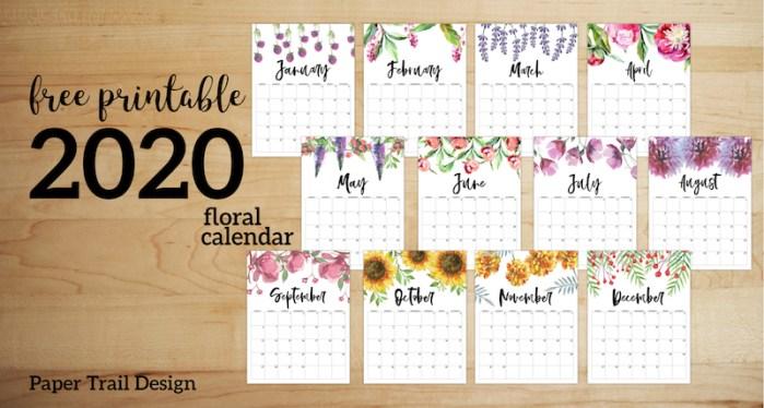 Free Printable Calendar 2020 - Floral. Watercolor Flower design style calendar. Monthly calendar pages. Cute office or desk organization. #papertraildesign #calendar #floralcalendar #2020 #2020calendar #floral2020calendar