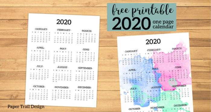 Calendar 2020 Printable One Page. Free Printable year at a glance calendar. Simple 2020 calendar template. Planner printables. #papertraildesign #calendar #2020 #2020calendar #onepagecalendar #yearataglace