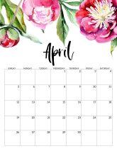 April Free Printable Calendar 2020 - Floral. Watercolor Flower design style calendar. Monthly calendar pages. Cute office or desk organization. #papertraildesign #calendar #floralcalendar #2020 #2020calendar #floral2020calendar
