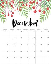 December Free Printable Calendar 2020 - Floral. Watercolor Flower design style calendar. Monthly calendar pages. Cute office or desk organization. #papertraildesign #calendar #floralcalendar #2020 #2020calendar #floral2020calendar
