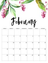 February Free Printable Calendar 2020 - Floral. Watercolor Flower design style calendar. Monthly calendar pages. Cute office or desk organization. #papertraildesign #calendar #floralcalendar #2020 #2020calendar #floral2020calendar