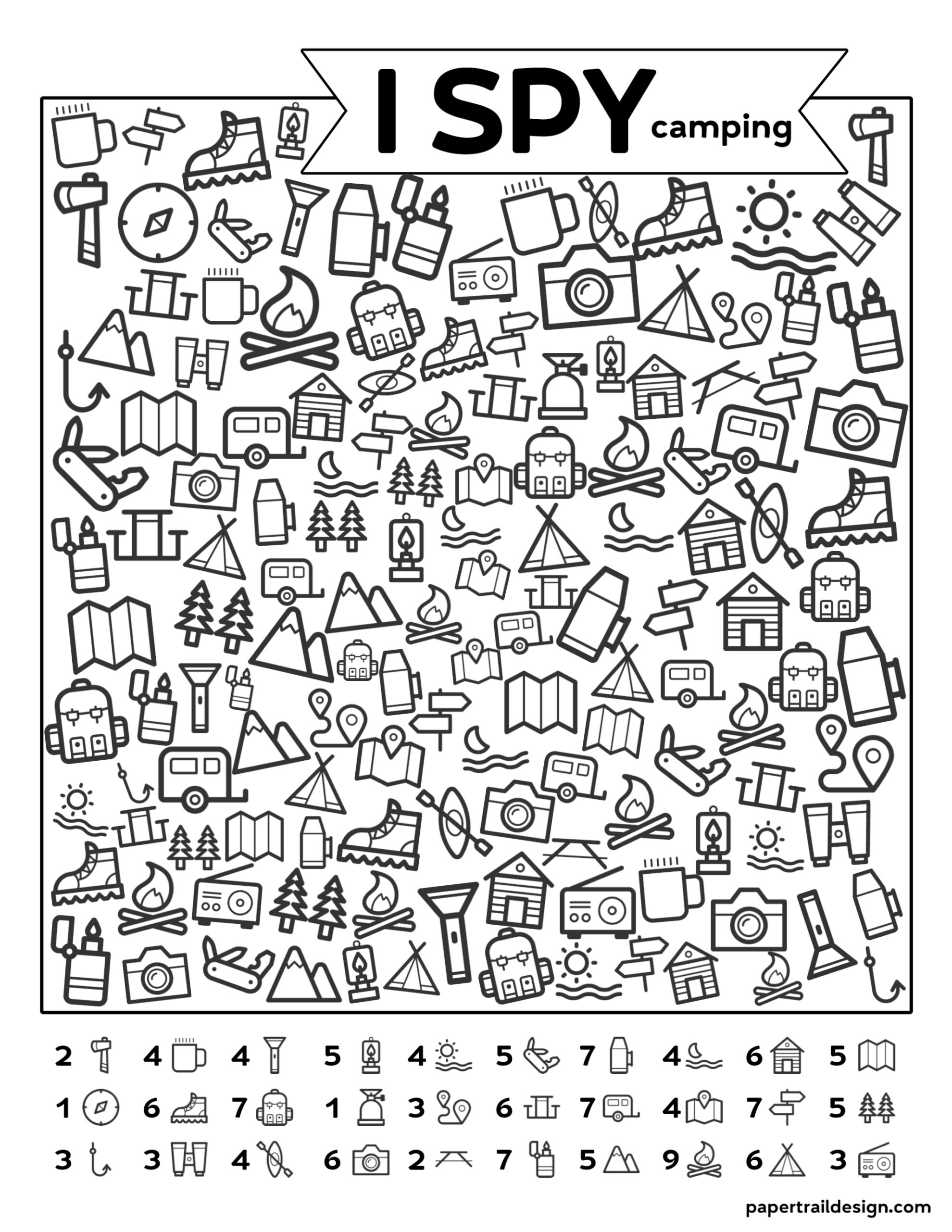 graphic relating to I Spy Printable named No cost Printable I Spy Tenting Little ones Game - Paper Path Style and design