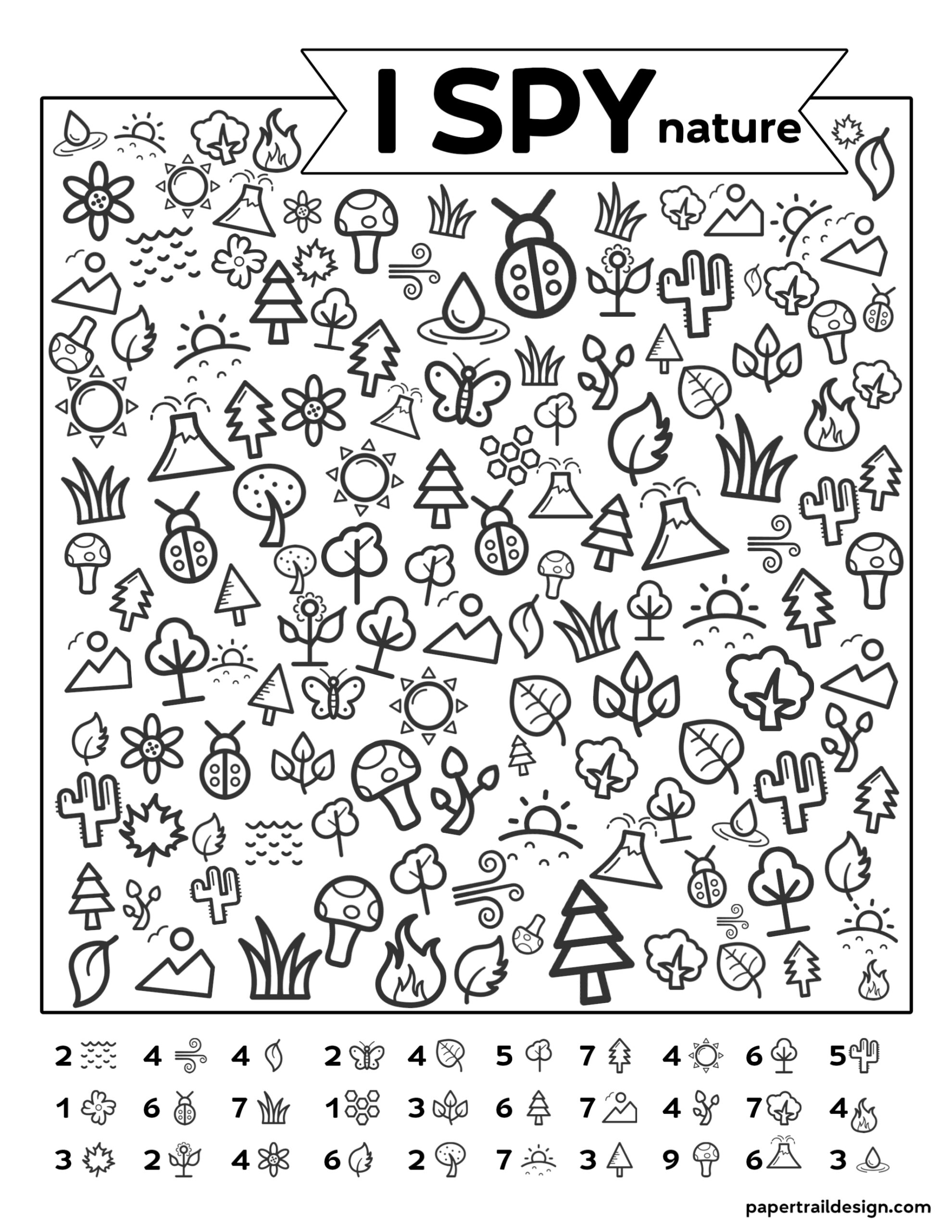 picture relating to I Spy Printable identify Free of charge Printable I Spy Mother nature Match - Paper Path Style and design