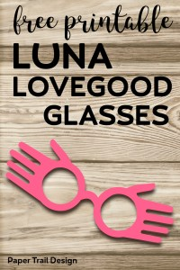 Free Printable Luna Lovegood Glasses Template. Inexpensive Harry Potter cosplay costume idea for Halloween. DIY Luna spectrespecs. #papertraildesign #harrypotter #lunalovegood #spectrespecs #DIYLunacostume #DIYharrypottercostume #cosplay #halloween