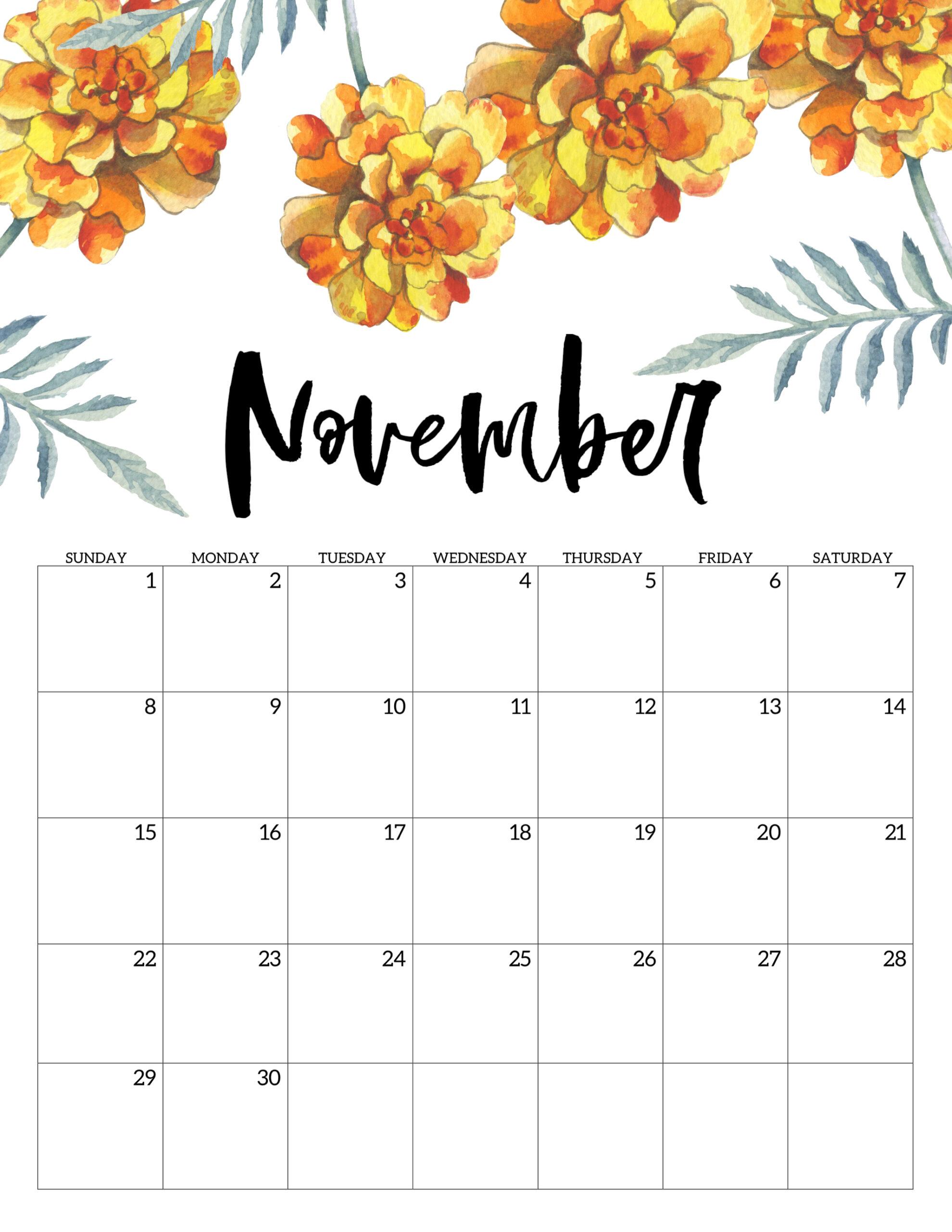 Free Printable Calendar 2020 Floral Paper Trail Design
